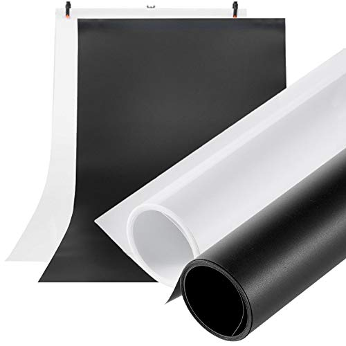 Meking 撮影用 PVC 背景布 バックペーパー 120cm x200cm 背景シート 人物写真 製品撮影 ホワイト+ブラック 2色