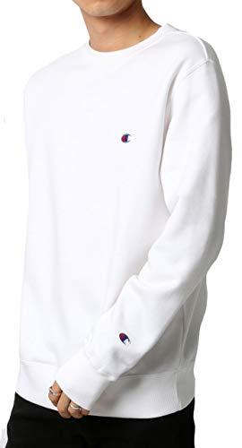 [チャンピオン]トレーナー長袖裏毛綿100%定番クルーネックワンポイントロゴ刺繍クルーネックスウェットシャツC3-Q001メンズホワイトM