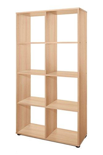 Dreams4Home Regal \'Noah\' weiß buche Sonoma Eiche Sägerau 70 x 142,5 x 29 cm Raumteiler 8 Fächer Holz Bücherregal, Farbe:Buche