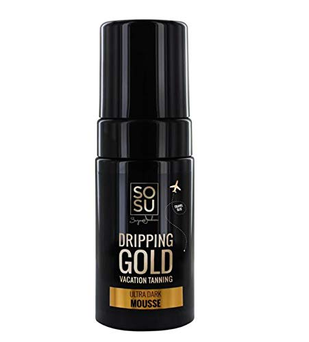 SOSU Dripping Gold Luxury Tanning Mousse Travel Size! Formulated with Hyaluronic Acid, Vitamins A & E! Vegan Friendly, Cruelty Free And Paraben Free! Choose Medium, Dark Or Ultra Dark! (Ultra Dark)