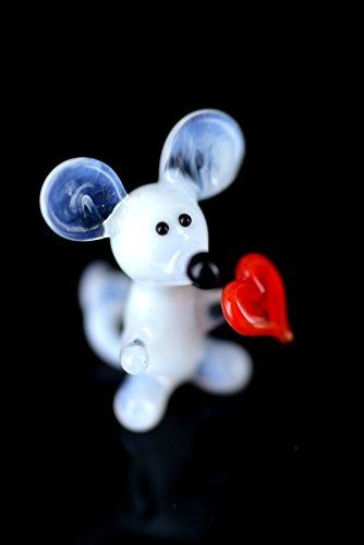Unbekannt Weiße Maus Mini mit Herz - Mäuschen Figur aus Glas - Miniatur Glasfigur Glastier Deko-k-5