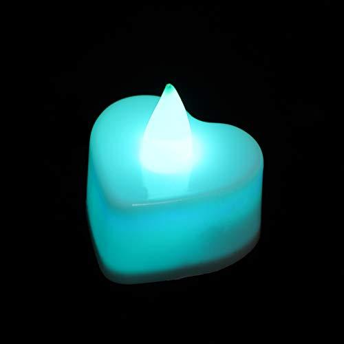 SOLUSTRE 24 Unids Corazón Luz de La Vela Electrónica Led Té Luces Velas Candelita Romántica para La Boda Decoración del Día de San Valentín