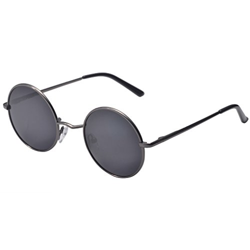 QHGstore Hombres Mujeres Ronda de la vendimia con espejo gafas de sol gafas al aire libre gafas de sol deportivas Gris / Negro