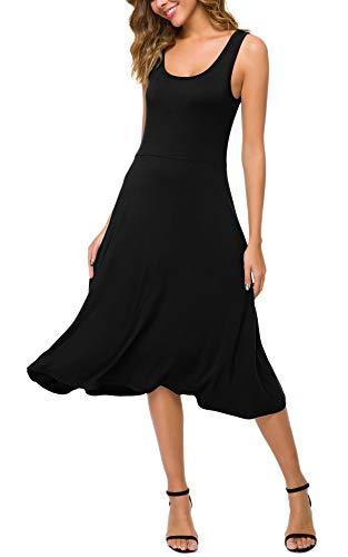 Urban CoCo Women's U-Neck Sleeveless Flared Midi Dress Summer Swing T-Shirt Dresses (Black, M)