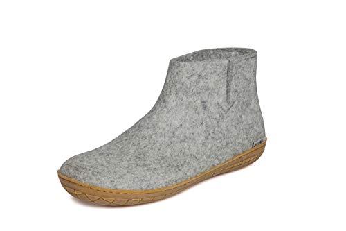 glerups dk Unisex - Erwachsene Filz-Hausschuh GR, Damen,Herren Hausschuh,Huettenschuh, Schafwolle, rutschfeste Gummisohle Grau (Grey), 38 EU / 5 UK