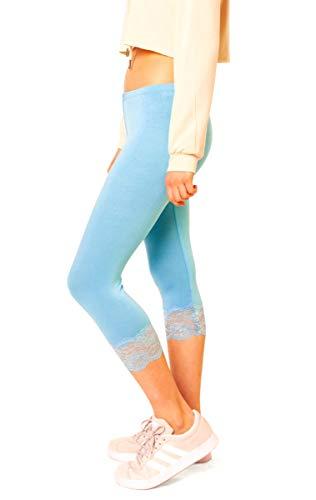 Easy Young Fashion Damen 3/4 Capri Leggings Spitze Spitzensaum Wadenlang One Size Hellblau