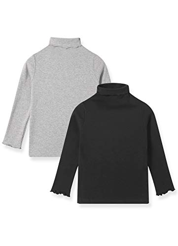 Pitidrogo Cotton Tops Girls' Toddler & Kids 3-Pack Long-Sleeve T-Shirts Turtleneck to Keep Neck Warm