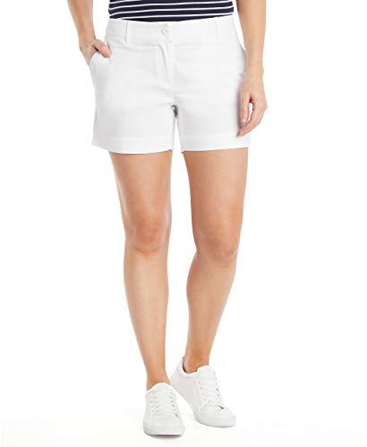 Nautica Women's Comfort Tailored Stretch Cotton Solid Short, Bright White, 12
