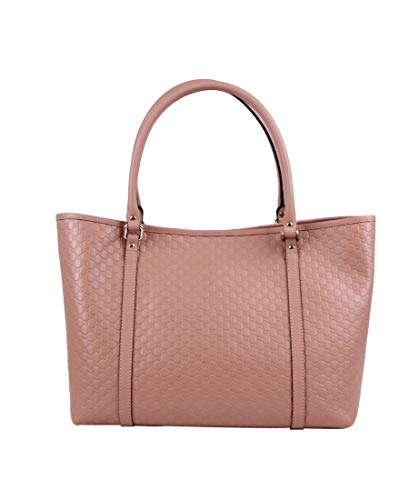 Gucci Women's Pink GG Micro Leather Large Tote Bag 449647 5806
