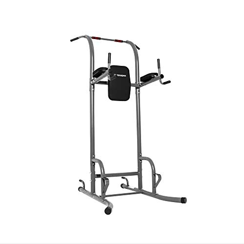 Retrospec Power Tower for Functional Fitness Home Gym Strength Trainer; Black Pads