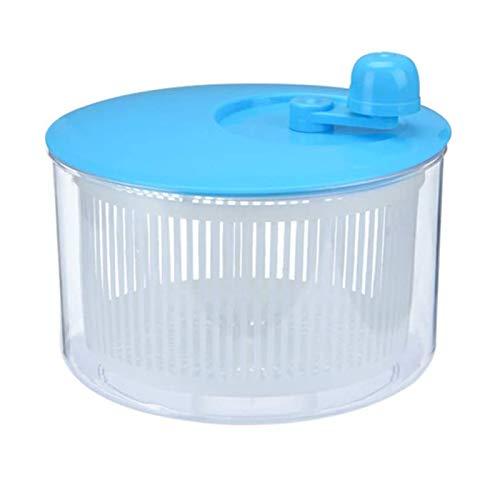 XDLH Salatschleuder, Gemüse Blattsalat Dryer Abtropffläche, Obst Waschen Reinigen Korb Kunststoff Gemüsewaschmaschine Manuelle Salatschleuder,Blau