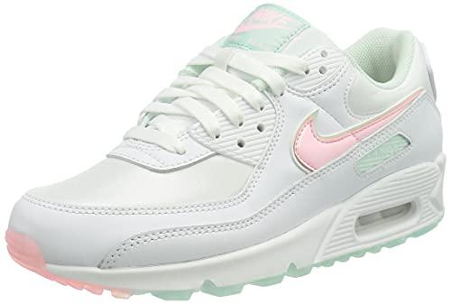 Nike Wmns Air Max 90, Scarpe da Ginnastica Donna, White/Barely Green/Light Dew/Arctic Punch, 39 EU