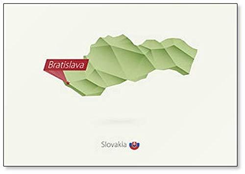 Landkarte der slowakischen Republik mit Hauptstadt Bratislava. Kühlschrankmagnet