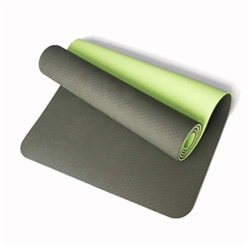 EKYJ Colchoneta de Ejercicio Antideslizante Yoga Mat Antideslizante de TPE Ejercicio del Deporte Estera de Fitness Gimnasio en casa del cojín para casa, Gimnasio (Color : Dark Light Green)