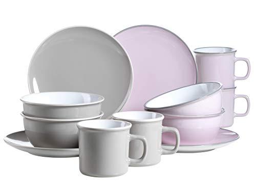 Mäser 931236 Serie Maila, Frühstücksset 12-teilig, Keramik Geschirr-Set für 4 Personen, Rosa / Grau