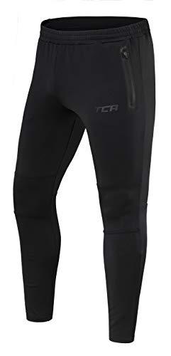 TCA Rapid Herren Quickdry Trainingshose/Jogginghose mit Reißverschlusstaschen - Black Stealth (Schwarz), S
