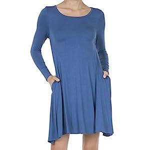 SHOP DORDOR Women's Casual T Shirt Dresses Long Sleeve Swing Dress Pockets