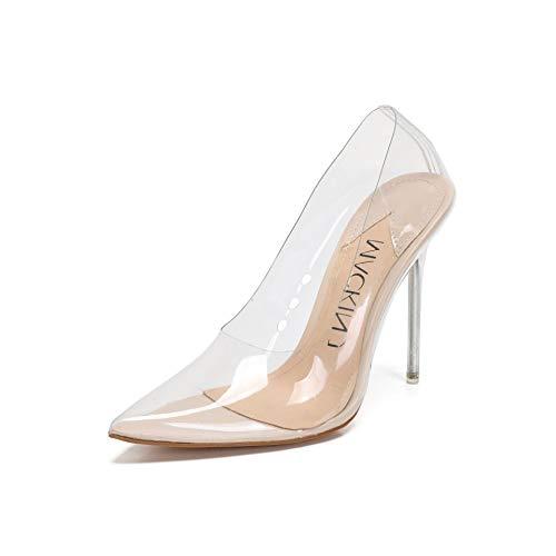 MACKIN J 188-7 Women's Clear Pumps Pointed Toe Slip On Stiletto Heel Dress Shoes (6.5, Clear Heel Transparent)