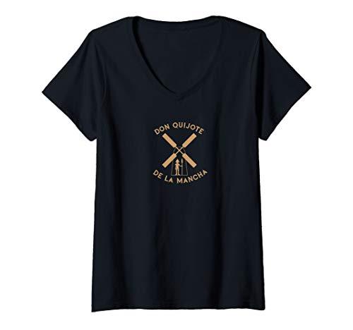 Damen Don Quijote de la Mancha T-Shirt mit V-Ausschnitt