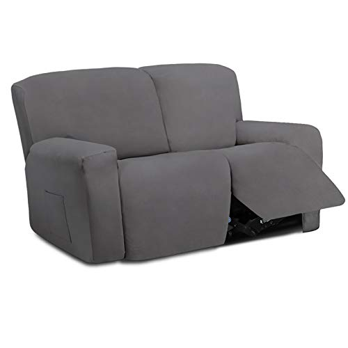 Easy-Going 6 Pieces Microfiber Stretch Sectional Recliner Sofa Slipcover Soft Fitted Fleece 2 Seats Couch Cover Washable Furniture Protector with Elasticity for Kids(Recliner Loveseat, Light Gray)