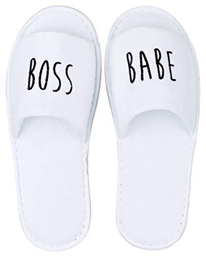 likalla Wellness-Slipper offen mit schwarzer BOSS Babe Bestickung in weiß, 1 Paar