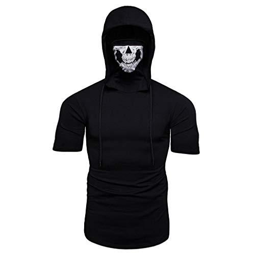 Fun-Bekleidung T Shirt Männer,Herren Maske Schädel Druck Splice Lässige Mode Revers Kurzarm Hemd Fitness Shirt Herren Tops Streetwear Sweatshirts Hip Hop Clothing