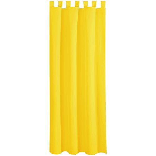 Bestlivings Gardine Vorhang Blickdicht modern mit Schlaufen Schlaufenschal Mikrosatin matt, in vielen Größen, Auswahl GELB in der Größe: B-140cm x L-145cm