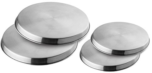 Fackelmann afdekplaten voor kookplaten, roestvrij staal, afdekkingen voor elektrische fornuizen (kleur: zilver), hoeveelheid: 4 stuks