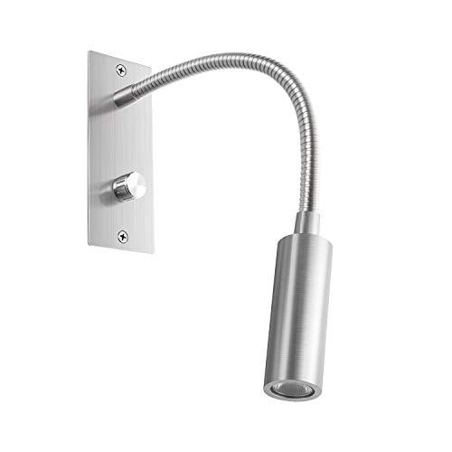 Meanyee Lámpara de lectura de pared Cabecera de luz de cabecera con interruptor giratorio/regulable/brazo ajustable/incrustado/níquel cepillado /3000k CREE/MY-WN065