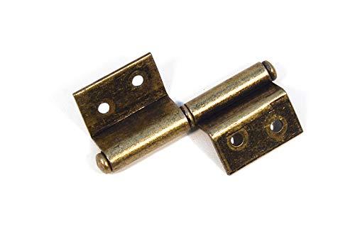 4 Stücke 70x28mm Eisenscharniere zwei Blätter rechteckige Tür Scharnier Alt Gold Möbel Antik Restaurierungsshop Veraltete Beschläge Vintage Schabby Möbelband Links