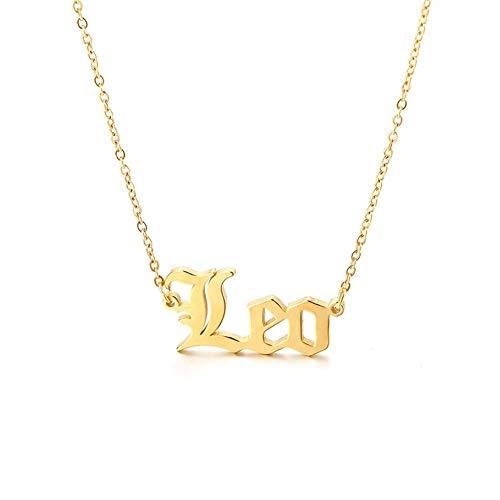 Nombre de encargo de oro pendiente personalizado, Collar del zodiaco chapado en oro 14k para muchachas de las mujeres constelación Astrología y Horóscopo de la moneda de los collares pendientes
