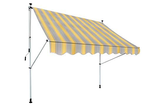 Klemm-Markise Borkum zum Kurbeln, Sonnenschutz für Terrassen oder Balkone, 250 x 150 cm, Kurbellänge: 125 cm, Gelb/Grau