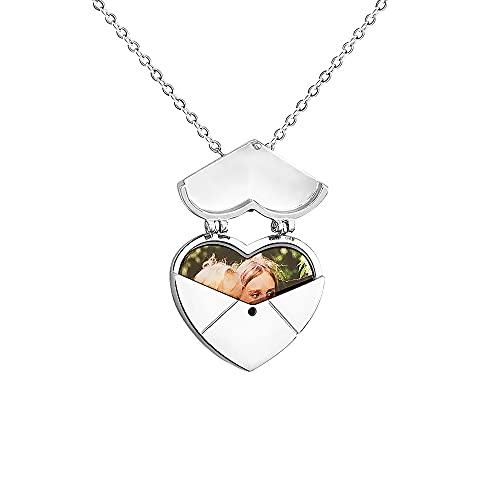 Collar con colgante de corazón plegable,Collar de latón creativo personalizado con foto,Collar de cobre grabado de moda Regalo creativo para madre, novia, novias, cumpleaños, aniversario