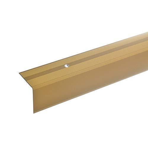 acerto 51109 Aluminium Treppenwinkel-Profil - 170cm, 42x40mm, gold * Rutschhemmend * Robust * Leichte Montage | Treppenkanten-Profil, Treppenstufen-Profil aus Alu | Gelochtes Stufenkanten-Profil