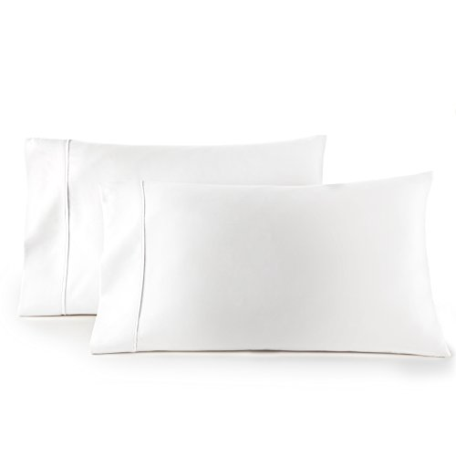 HC COLLECTION 1500 Thread Count Egyptian Quality 2pc Set of Pillow Cases, Silky Soft & Wrinkle Free (King Size, White)