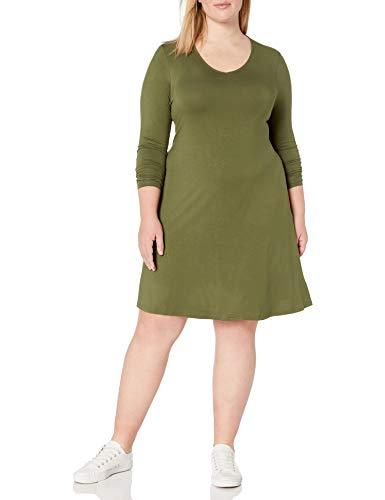 Amazon Brand - Daily Ritual Women's Plus Size Jersey Long-Sleeve V-Neck Dress, 1X, Cypress Green