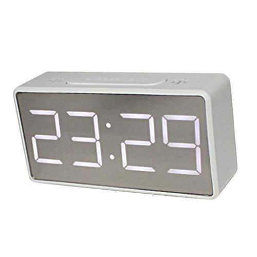 LED Digitalwecker Digitale Wecker Uhr Tischuhr Funkwecker mit Schlummerfunktion und Thermometer - Weiß