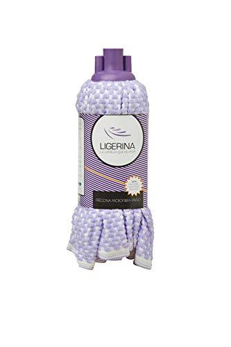 Ligerina 506 Paño Fregona 100% Microfibra, Violeta Blanco, 52 cm, Caja de 12