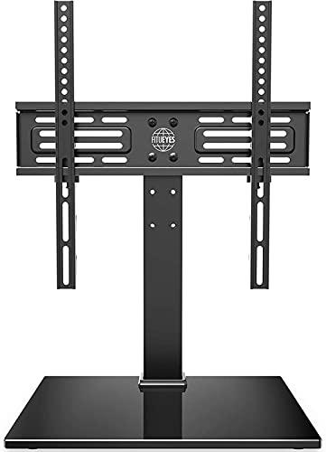 QUERT Soporte de Pedestal de TV de sobremesa para Pantalla de 26'a 55' Giratorio de 60 ° Gestión de Cables de 6 Alturas Ajustables Soporte de Base de TV de Mesa Universal
