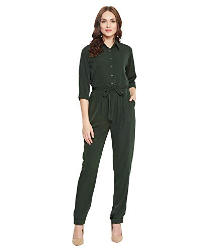 Uptownie Lite Women's Crepe Army Green Roll Up Jumpsuit(Size S)