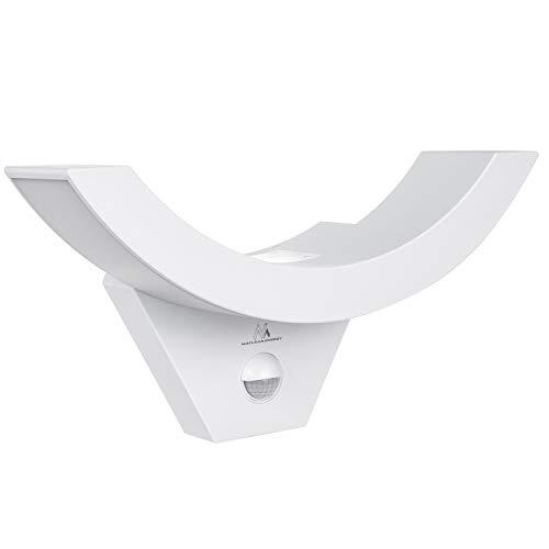 Maclean MCE290 Dekorative LED-Lampe mit Infrarot-Bewegungssensor Wandleuchte Innenlampe Außenbeleuchtung 800lm 10W IP54 Wasserdicht (Weiß)
