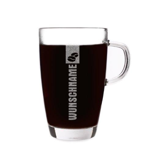 Herz & Heim® Latte Macchiato Glas mit gratis Gravur des Namens - Motiv: Coffee