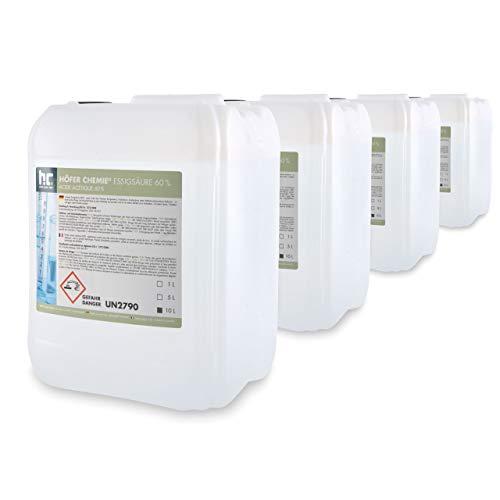 4 x 10 L Essigsäure 60% - frisch abgefüllt in handlichen 10 L Kanistern