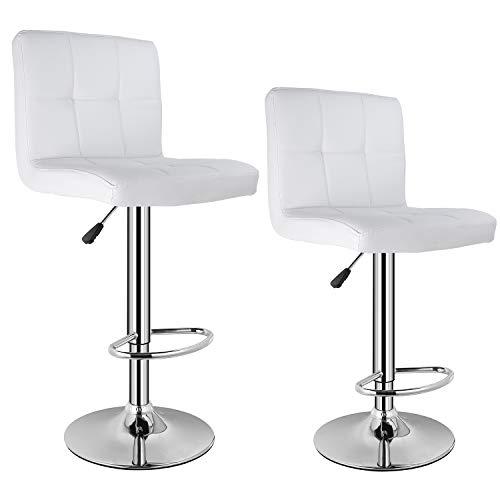 Homfa 2er Barhocker Barstühle mit Rücklehne höhenverstellbar Lederimitat Weiß Set
