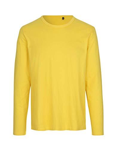 Green Cat Camiseta de manga larga para hombre, 100% algodón orgánico. Certificado de comercio justo, Oeko-Tex y Ecolabel. amarillo XL