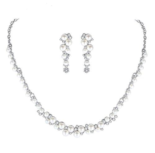 Unbekannt Set Collier Halskette Perlen Strass Brautschmuck Hochzeit Braut SCHMUCK Hochzeit
