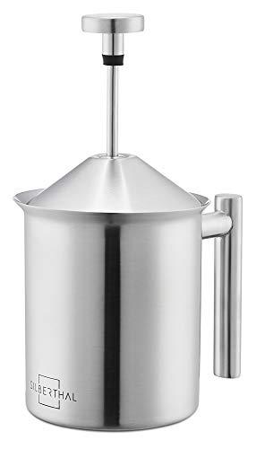 SILBERTHAL Milchaufschäumer Manuell - Edelstahl - 400ml - Perfekter Milchschaum dank doppeltem Sieb und speziellem Drückmechanismus - Milchschäumer