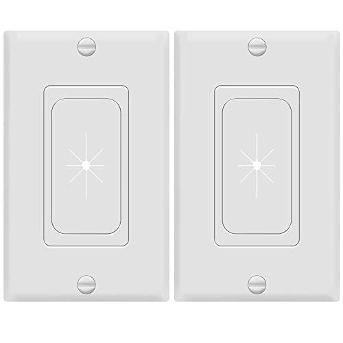 "TOPGREENER Flexible Rubber Grommet Opening Pass-Through Insert with Decorator Wall Plate for Low-Voltage Cables, Size 1-Gang 4.50"" x 2.75"", Polycarbonate Thermoplastic, TG8901-2PCS, White 2 Pack"