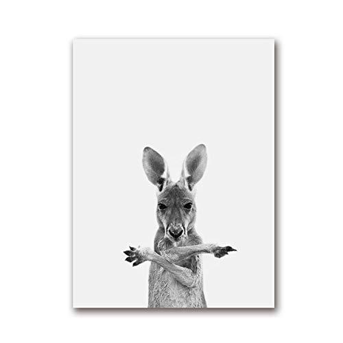 Geiqianjiumai Australian Känguru Nordic Tier Schwarz-Weiß-Fotografie Leinwand Malerei Wandbild Poster und Druck Wandbild Kinderzimmer Dekoration
