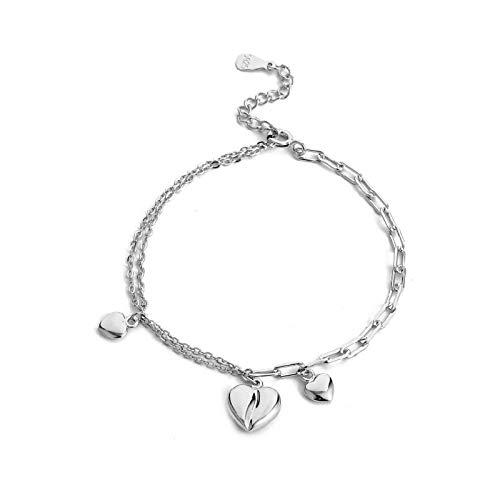 1 pulsera de plata de ley 925 con forma de corazón y cadena para parejas